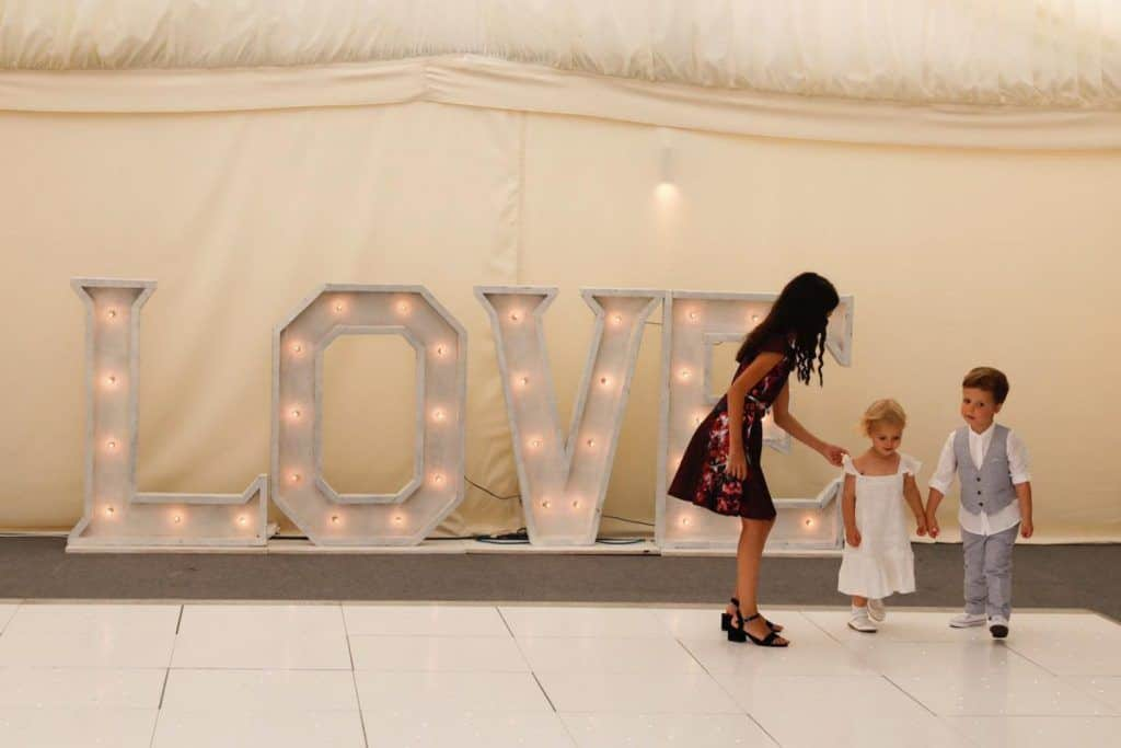 4ft White LED love letter hire