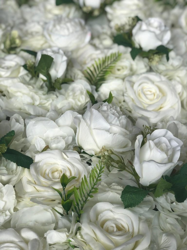 luxury white ivory flower wall hire