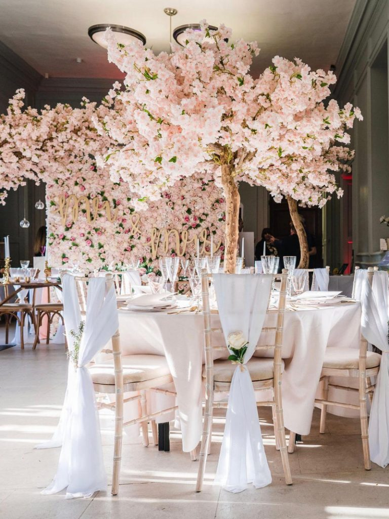 Pink blossom tree wedding centrepiece hire