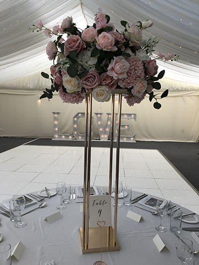 Pink bouquet wedding centrepiece