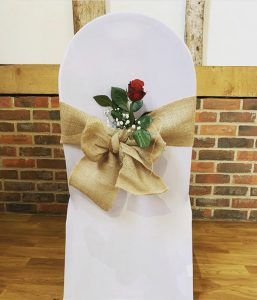 White chair cover hessian sash
