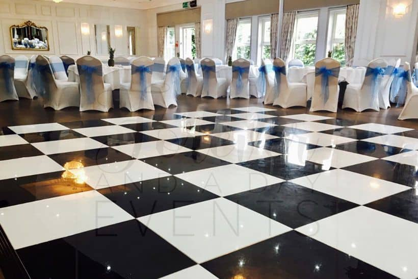 wedding checkered dancefloor hire