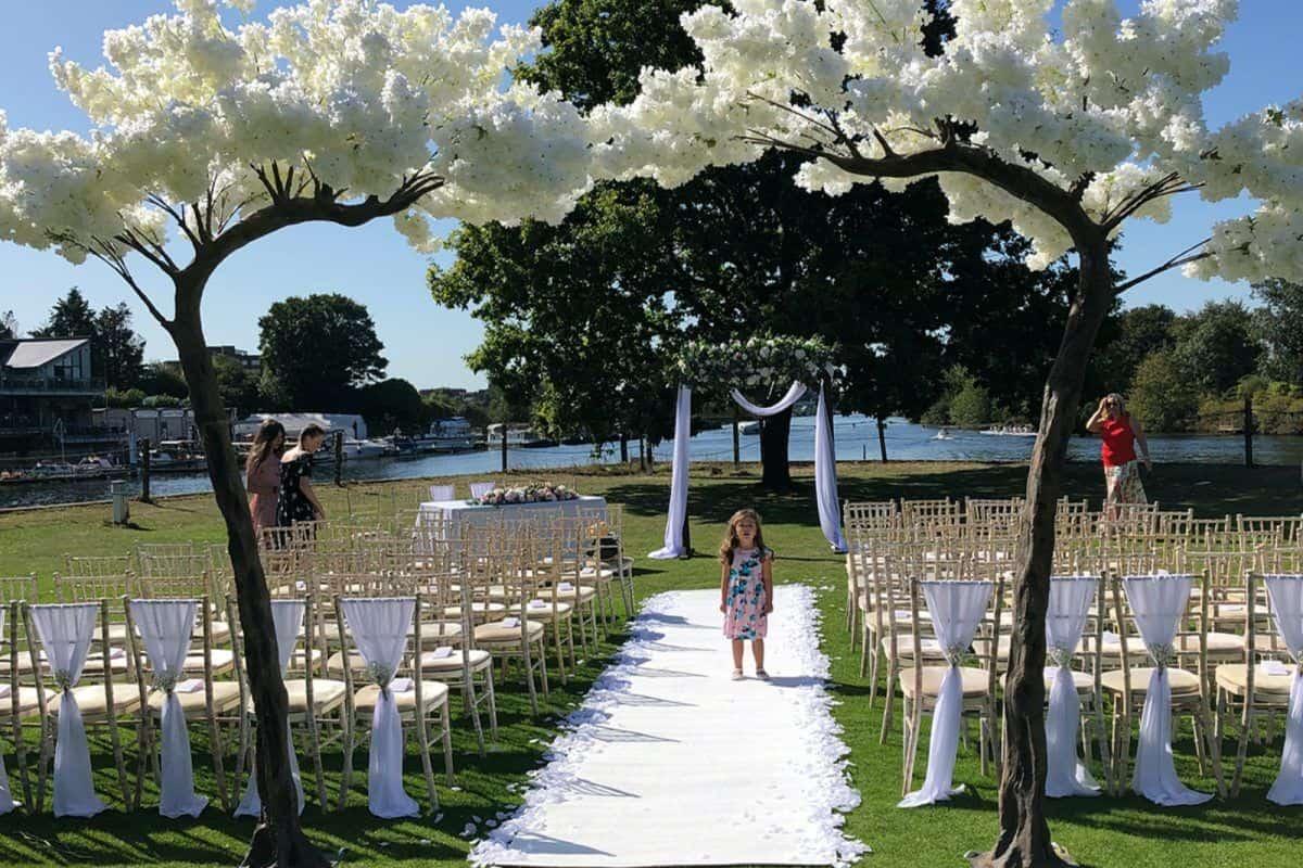 White blossom tree wedding arch hire