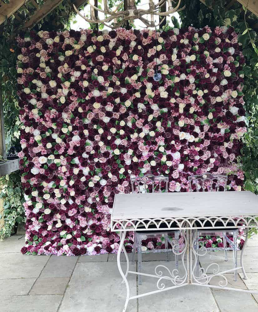 Luxury red flower wall hire