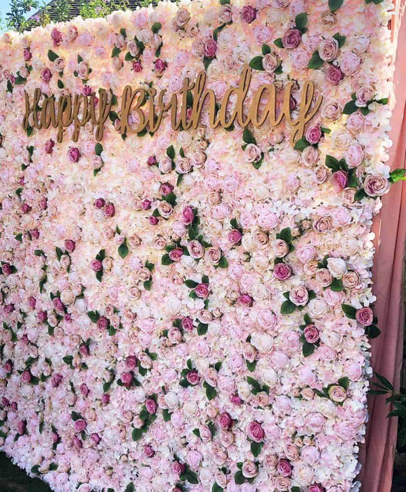 Luxury pink flower wall hire