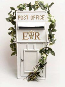 Cast iron white and gold royal mail wedding postbox