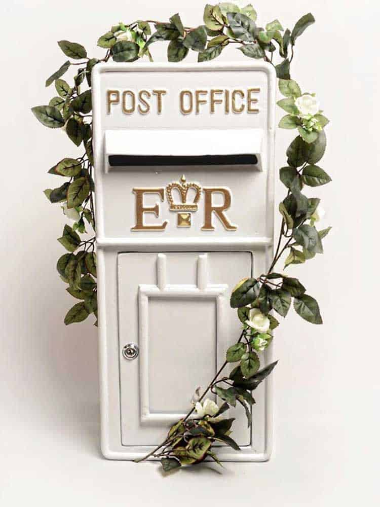Cast iron white and gold wedding postbox