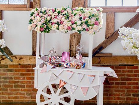 Flower roof candy cart hire