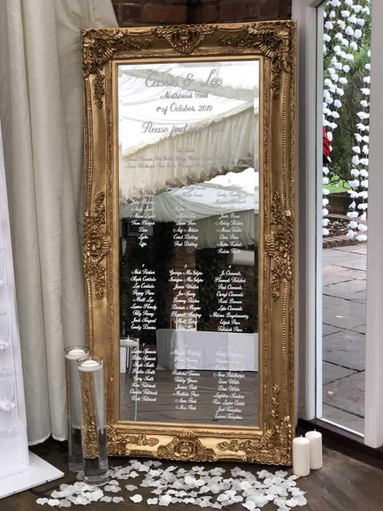 Gold ornate mirror table plan