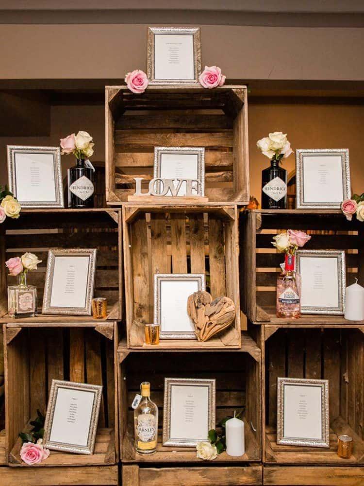 Rustic crate wedding table plan