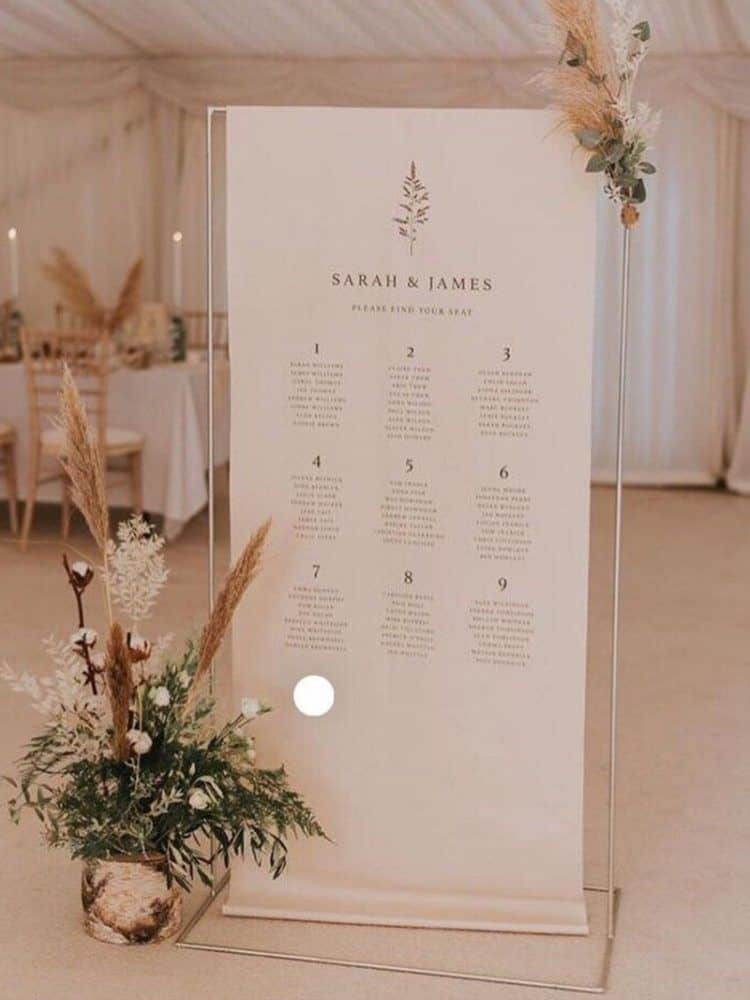 Bespoke wedding table plan hire