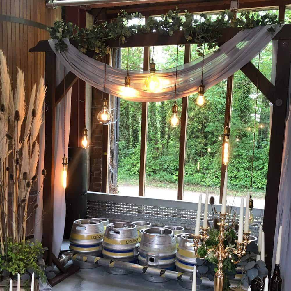 Rustic copper light arch