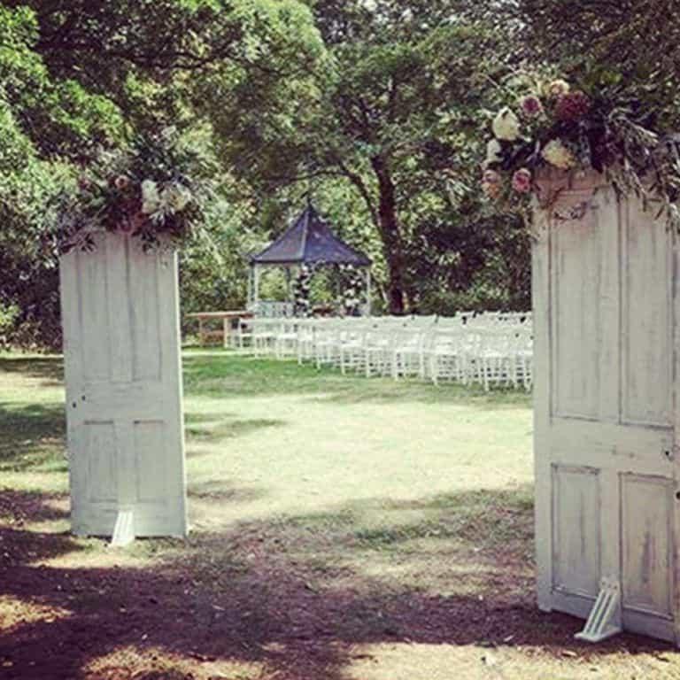 Rustic door wedding arch