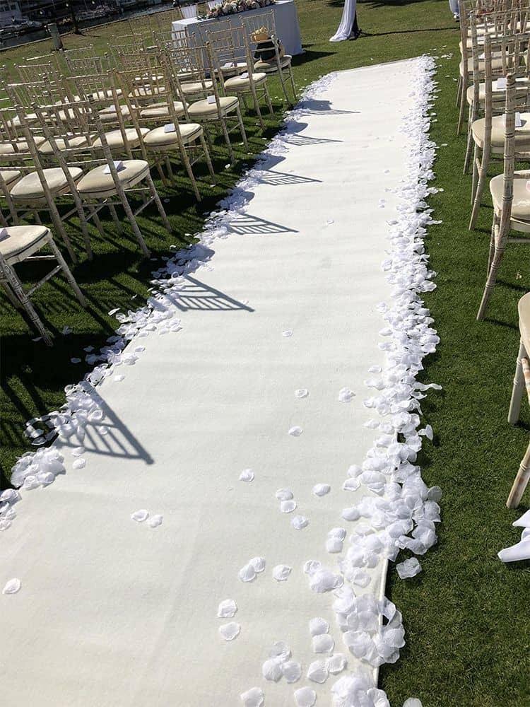 White aisle wedding runner
