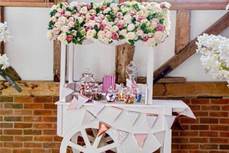 flower wall roof candy cart hire