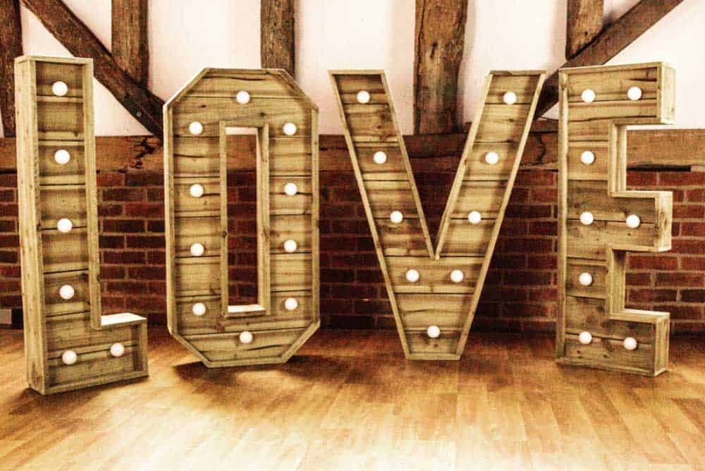 Rustic wood LED light up love letters