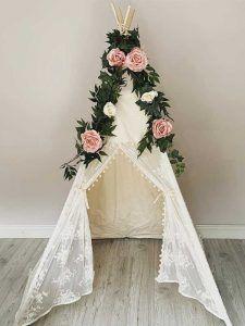Boho lace wedding teepee