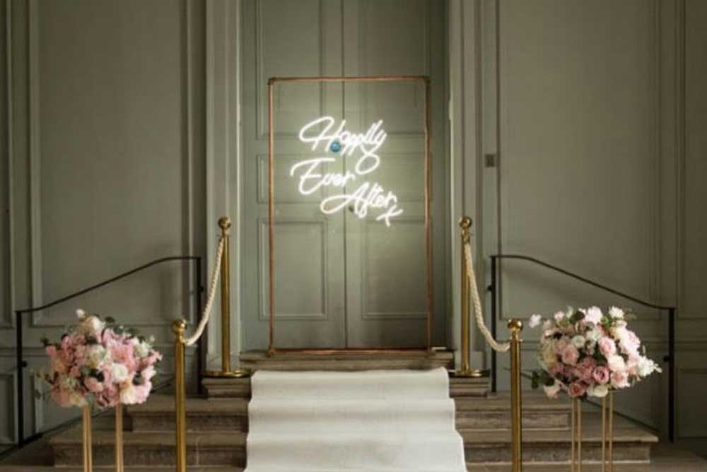 Happily ever after neon sign copper frame hire