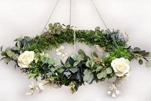 Floral chandelier wedding