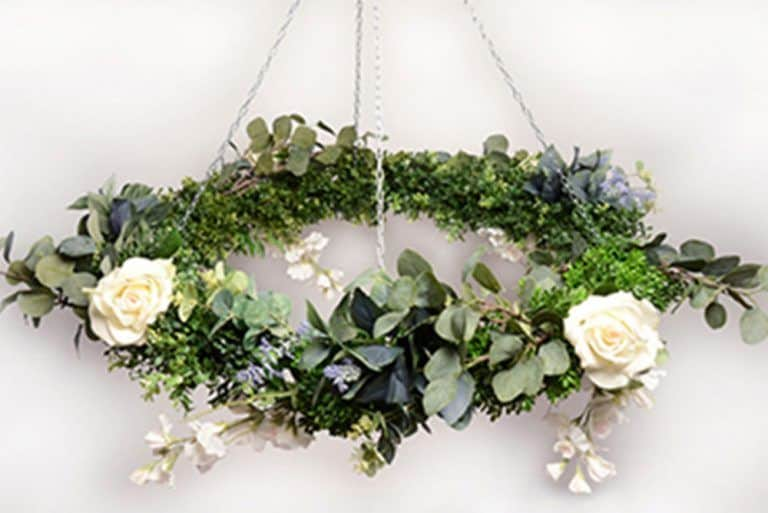Floral chandelier wedding