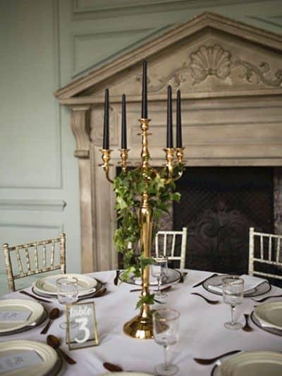 wedding gold Candelabra centrepiece