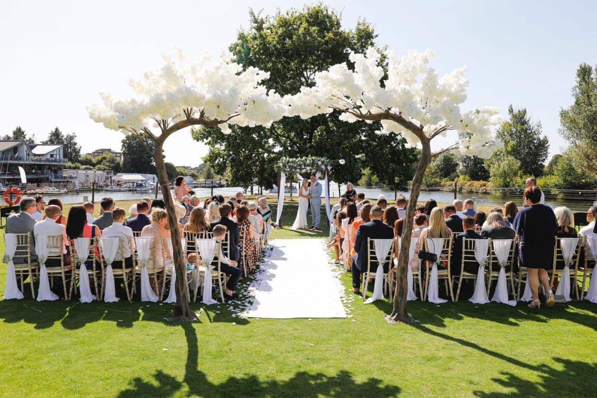 12ft white blossom wedding tree arch hire