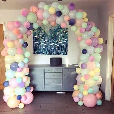 Multi-coloured balloon arch