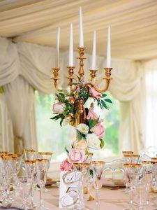 Gold candelabra centrepiece