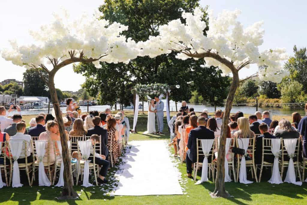 White blossom tree arch