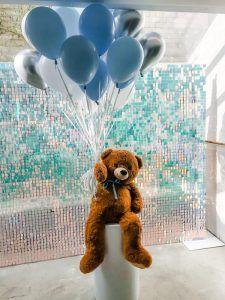 Teddy Bear Holding helium balloons