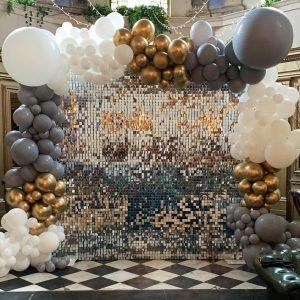 silver sequin wall hire