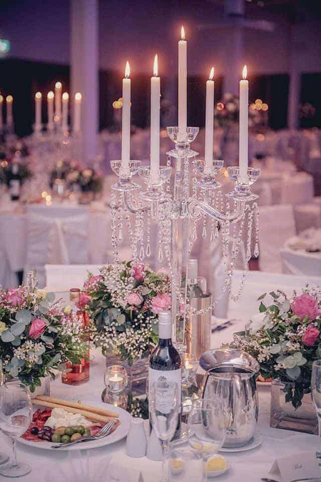 Crystal candelabra centrepiece